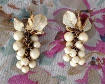 Vintage 50's Glam Pearl Grape Bunch Earrings