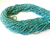 """14"""" Inches --Full Strand --Hard To Find Quality-Natrual Hand Cut Afghan Tourqoise Heishi Beads- Size 1mm Approx A Grade"""