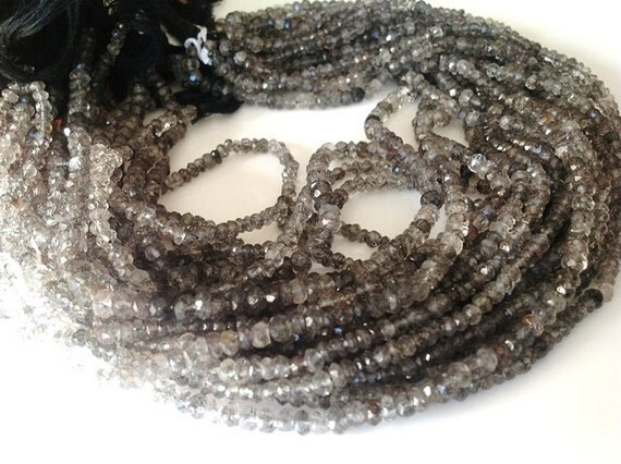 Rare and Unique Full 14 Inches - 4mm - Natural Black turmalaited  Qtz AAA  Quality  Faceted beads Strand