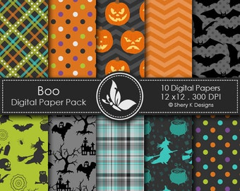 Boo Paper Pack - 10 Digital papers - 12 x12 - 300 DPI //////3