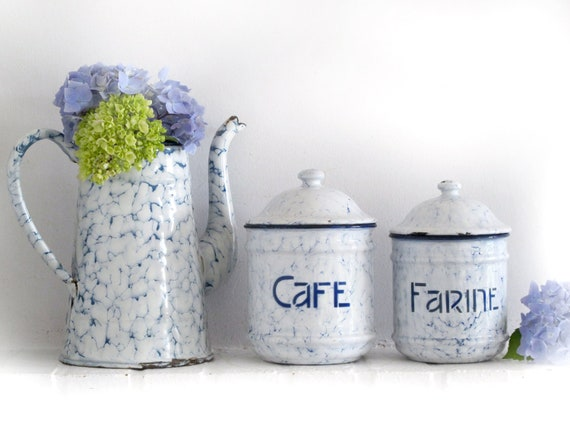 2 large French enamel canisters set box kitchenware, french tag, granite ware,white and blue