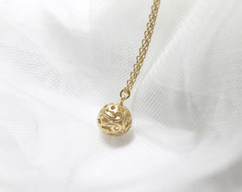 Filigree Gold Ball Necklace -2281-1