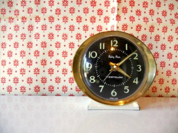 Vintage Baby Ben Clock, Retro Brass, Black and White Little Vintage Alarm Clock, Works