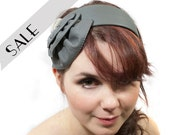 Headband in Grey Leather Studded Elegant FREE SHIPPING made to order