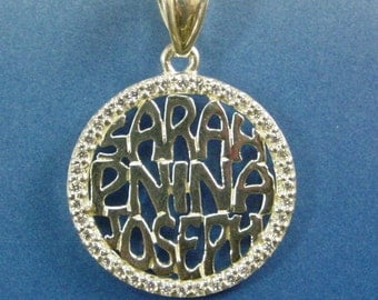 "family  pendant with  diamond  bazel.  3/4"" size  with 44 CZ stones, .sterling silver.whith a chain"