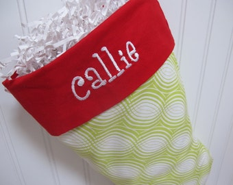 Christmas Stocking - Green and white stocking
