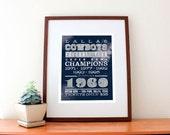 "Dallas Cowboys Football Print, Custom to Your Team 11"" x 14"""