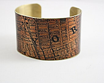 New York  Cuff Bracelet / Vintage Map Bracelet /  Brass Cuff