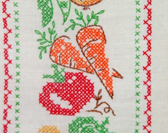 Mid Century Embroidered Dish Towel- Retro Country Kitchen- Frame as Art- Vegetable Cross Stitch- 15 x 26 inch 38 x 66 cm
