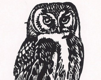Sale-Night Owl Linocut Print- Goth Darkside Art- 4x6 inches- Signed Edition of 50