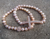 Rose Gold Set of 2 Pink Freshwater Pearl Crystal Sideways Cross Bracelets