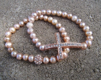 Rose Gold Set of 2 Pink Freshwater Pearl Crystal Sideways Cross Bracelets