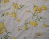 Vintage Sheet Fat Quarter, Vintage Bed Sheet Yellow Morning Glories