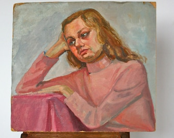 Vintage Oil Portrait Painting: Contemplative Woman in Pink