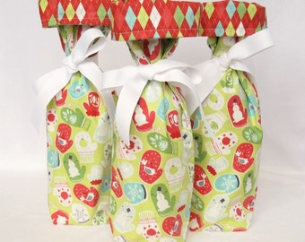 Wine Gift Bag - Tinsel by Maude Asbury for Blend Fabrics Green