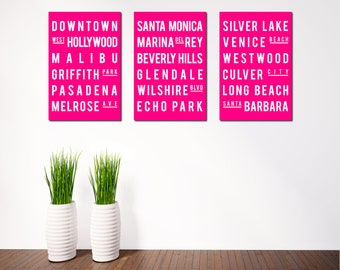 LOS ANGELES Print - Subway Sign - Typography Poster -  Modern Art - Home Decor - Wall Art - Set of 3 - Hot Pink
