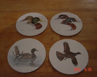 Collection of Painted Bird Tiles, Trivets, Vintage