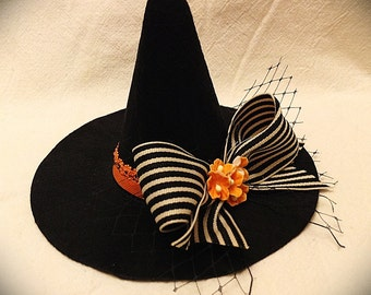 Mini Witch Hat with Bow and Flowers