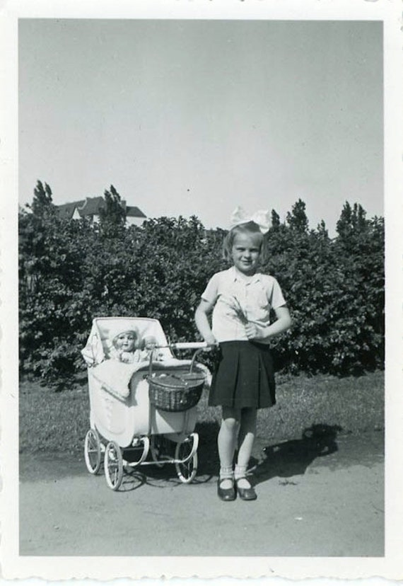 "S A L E - Vintage Photo ""Pretend Little Mother"", Photography, Paper Ephemera, Snapshot, Old Photo, Collectibles - 0037"