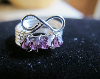 Silver wire wrapped infinity birthstone ring amethyst Swarovski crystals, FEBRUARY, can make made in any size
