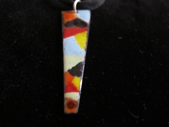 Pendant colorful abstract geometric handpainted enamel necklace, ooak