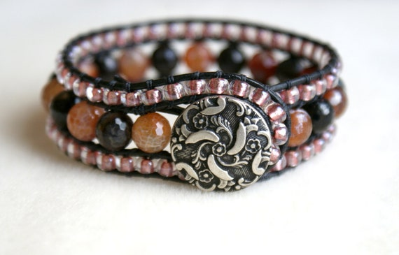 Agate Bohemian leather wrap bracelet, leather cuff, Chan Luu Style, Brown, black, pink, rose