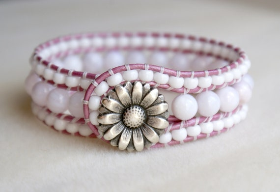 White Boho leather wrap bracelet, leather cuff, Chan Luu Style, rose, pink, lavender, silver flower, pastel