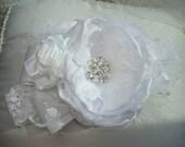 Vintage Inspired Baby Flower Headband, Baptism, First Communion, Christening /  Baby Headband,  Headband, Photo Prop, White Flower Headband