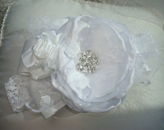 White Baby Flower Headband, Baptism, First Communion, Christening Headband, Baby Headband, Bow Kids, Hairband, Photo Prop