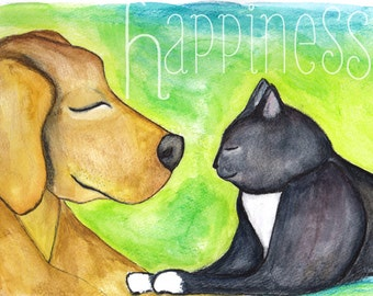 Dog and Cat Happiness Art Print