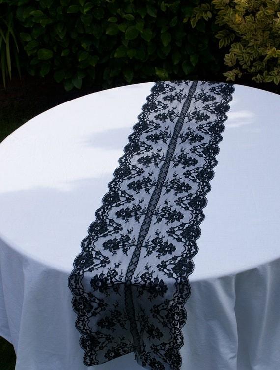 Black Table Runner Black Lace Table Runner For