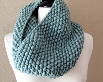 Seaglass Cowl Scarf, Chunky Knit Infinity Scarf, Hand Knit Scarf, Hand Knit Cowl, Eternity Scarf, Snood, Winter Accessories