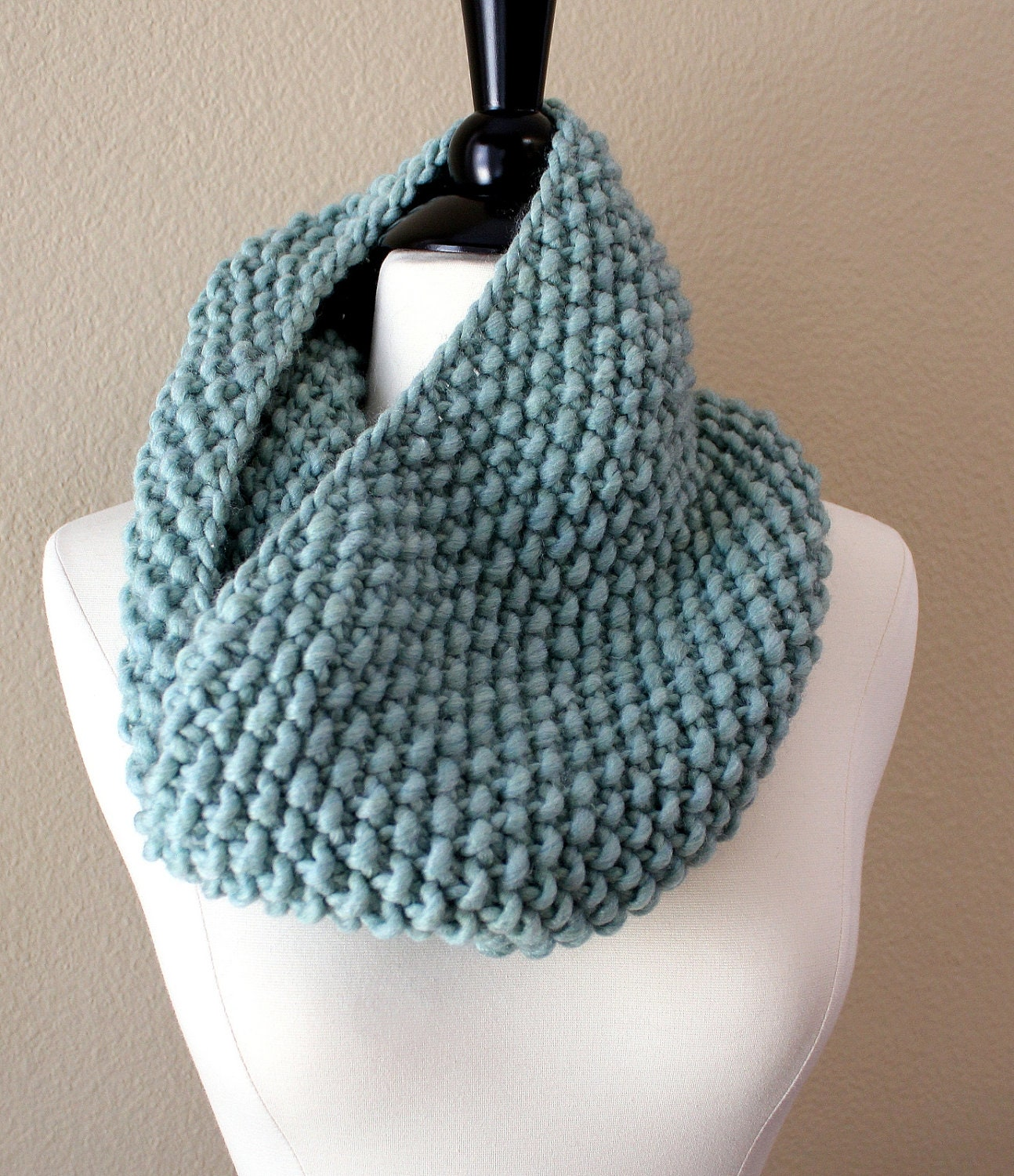 Knitted Infinity Cowl Pattern : Seaglass Cowl Scarf Chunky Knit Infinity Scarf Hand Knit