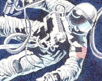 Space Walking Astronaut - Gemini 4 Capsule - 8 x 27 inch Mounted Canvas Print of US Space Race Stamps