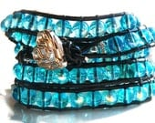 BohoTropical 5x Leather Wrap Bracelet with Turquoise Diamond Cut Beads, Watery Blues, Boho Ocean Surfside Chic