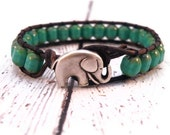 Turquoise Leather Wrap Bracelet with Table Cut Turquoise and Silver Elephant/ Boho Urban Modern Chic