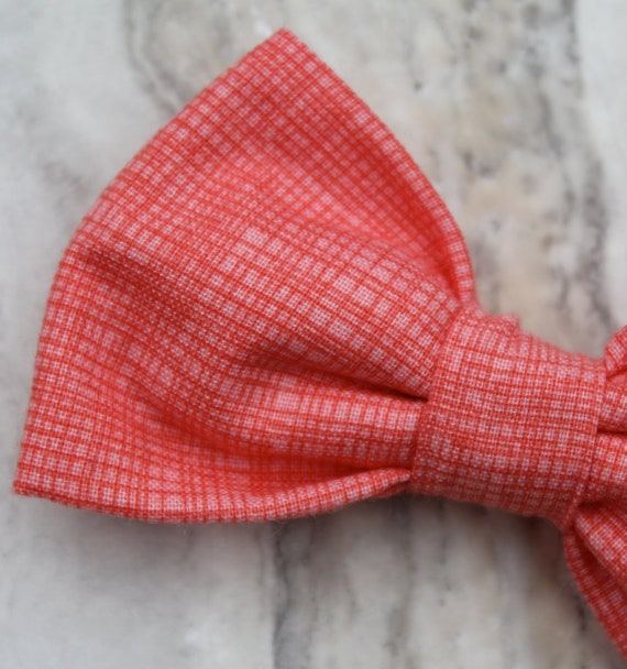 Bow tie in Coral Pink Crosshatch - Clip on, pre-tied with strap or self tying freestyle - ring bearer outfit - groomemen ties