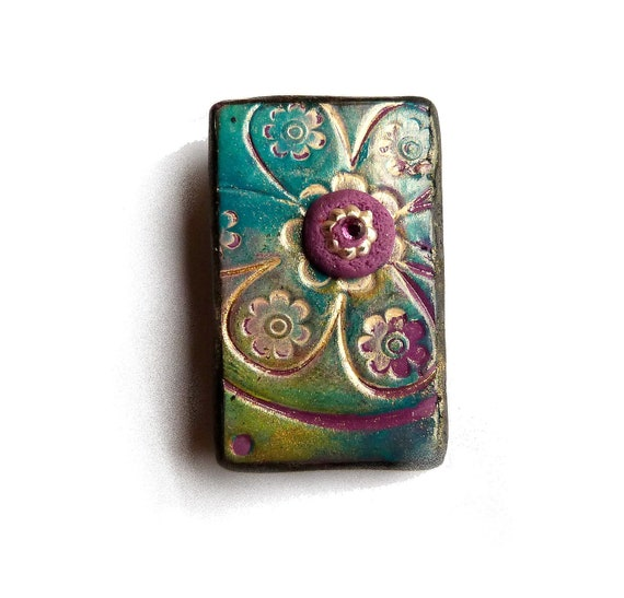 Unique Art Brooch, Flower texture, turquoise peacock gold purple, polymer clay, christmas brooch, Mixed Media