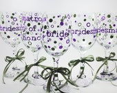 Wedding Wine Glasses, Set of 6, Personalized