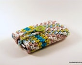 Crocheted iPod / iPhone / MP3 Player / Mobile Phone Cozy in Blue and Lime Ombre