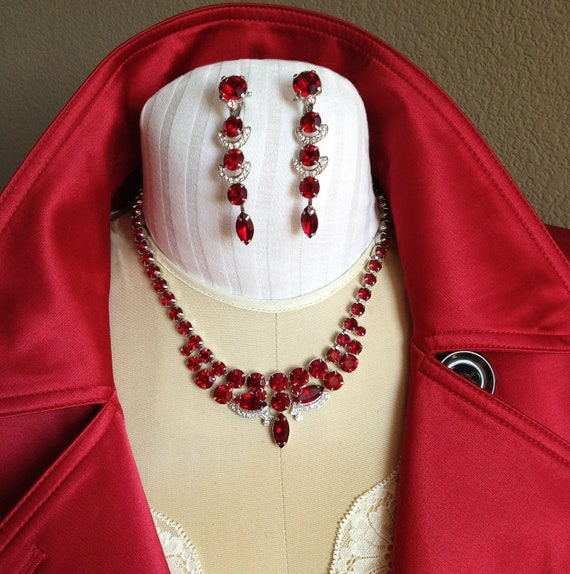 1950s Vintage Eisenberg Ice Ruby Austrian Crystal Rhinestone Necklace and Dangle Earring Demi Parure