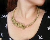 Nautical rope necklace, gold rope necklace, spiral knot necklace, rope jewelry