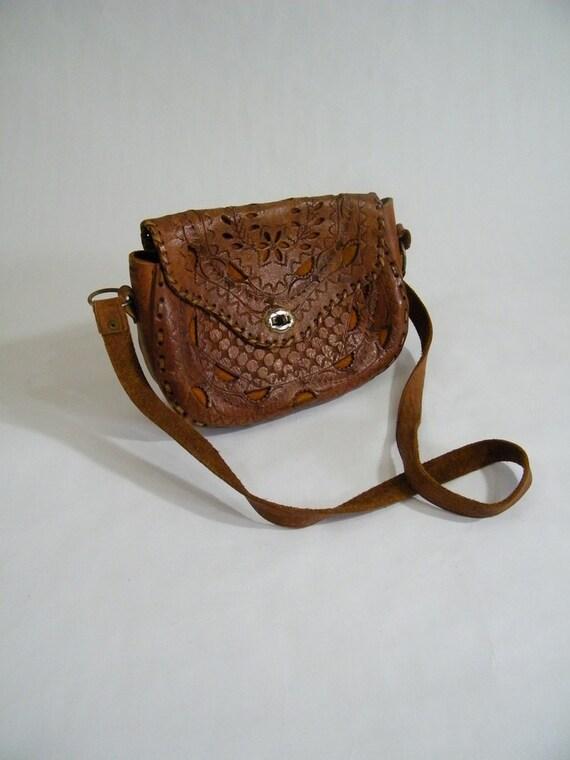 Vintage 1970s Leather Purse / Boho Shoulder Purse