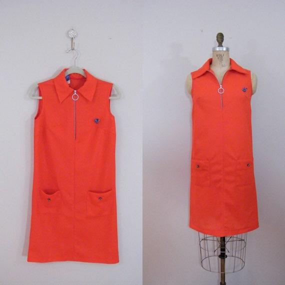 Vintage 1960s Red Zip-Up Shift Dress