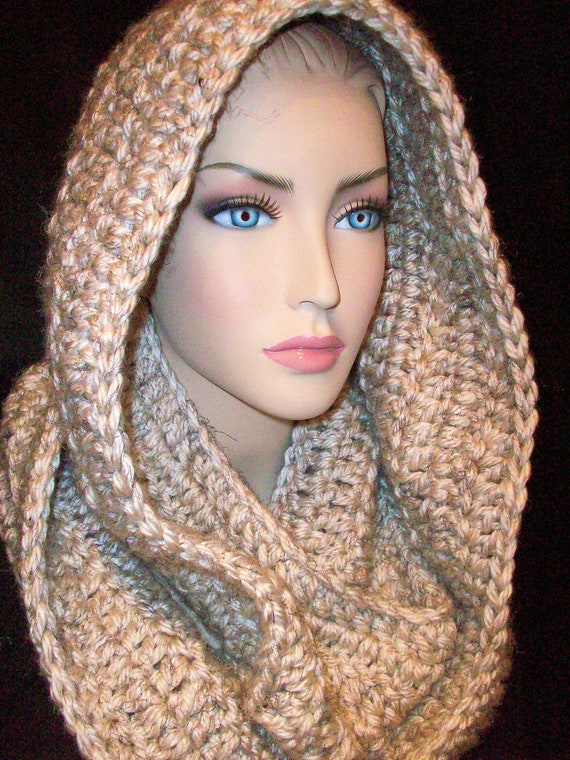 Chunky Infinity Scarf Xtra Large and Thick Netural Color Wheat Unisex