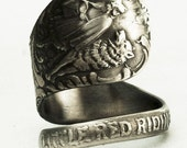 Little Red Riding Hood Sterling Silver Spoon Ring, Handcrafted in your size (2406)