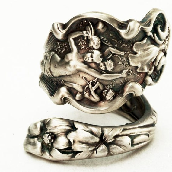 RESERVED For (ivacher) - Unique Art Nouveau Cupid Irian Sterling Silver Spoon Ring, Handcrafted in Your Size (2733)