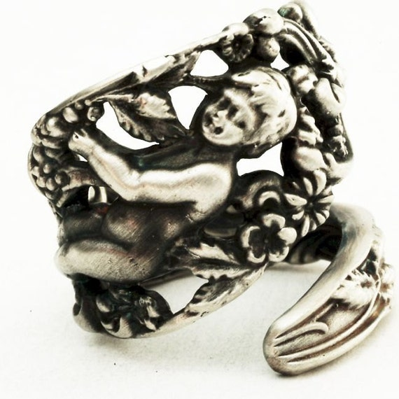Spoon Ring Victorian Labors of Cupid Figural in Sterling Silver, Handmade in Your Size (2831)