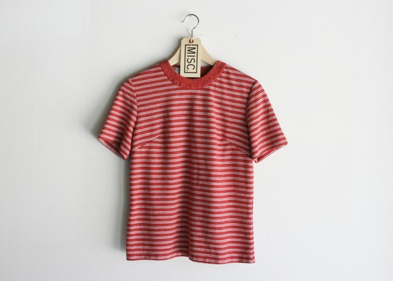 "Vintage ""Forget Me Not""  Striped Red Zip Up Short Sleeve Top"