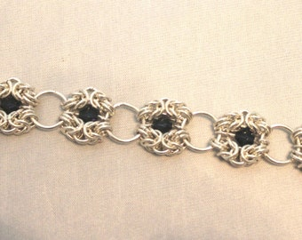 Sterling silver romanov chainmaille bracelet with blue crystals
